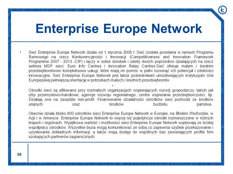 98 Enterprise Europe Network Sieć Enterprise Europe Network działa od 1 stycznia 2008 r. Sieć została powołana w ramach Programu Ramowego na rzecz Kon