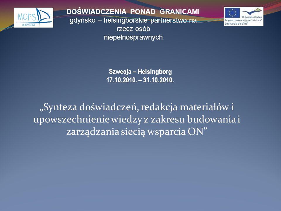 Synteza doświadczeń, redakcja materiałów i upowszechnienie wiedzy z zakresu budowania i zarządzania siecią wsparcia ON DOŚWIADCZENIA PONAD GRANICAMI g