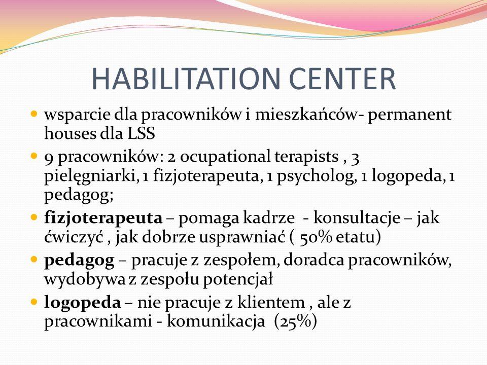 HABILITATION CENTER wsparcie dla pracowników i mieszkańców- permanent houses dla LSS 9 pracowników: 2 ocupational terapists, 3 pielęgniarki, 1 fizjoterapeuta, 1 psycholog, 1 logopeda, 1 pedagog; fizjoterapeuta – pomaga kadrze - konsultacje – jak ćwiczyć, jak dobrze usprawniać ( 50% etatu) pedagog – pracuje z zespołem, doradca pracowników, wydobywa z zespołu potencjał logopeda – nie pracuje z klientem, ale z pracownikami - komunikacja (25%)
