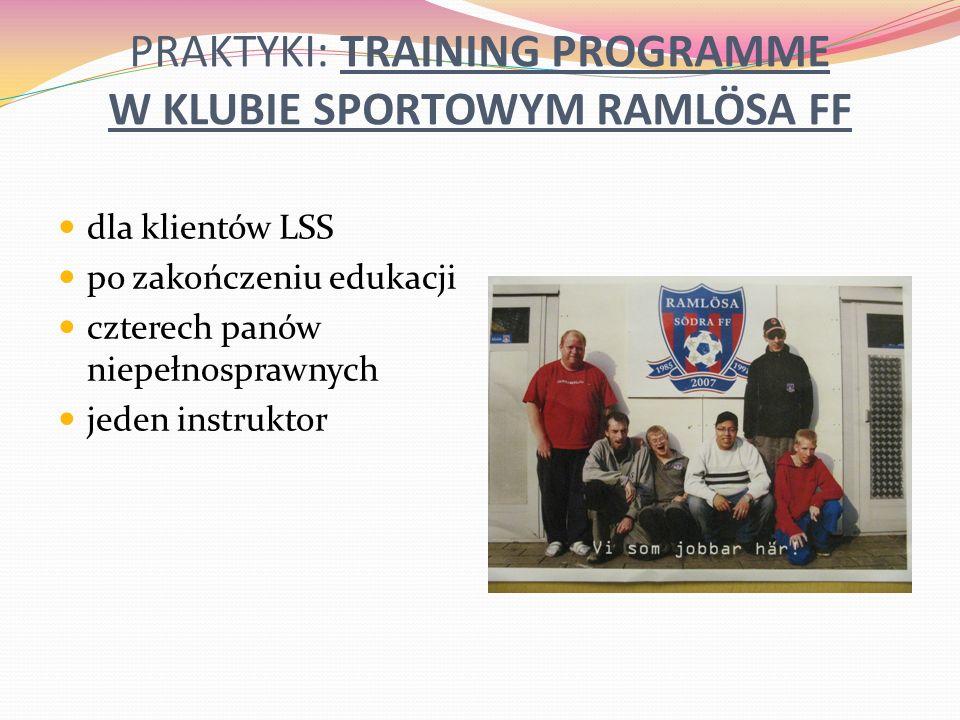 PRAKTYKI: TRAINING PROGRAMME W KLUBIE SPORTOWYM RAMLÖSA FF dla klientów LSS po zakończeniu edukacji czterech panów niepełnosprawnych jeden instruktor
