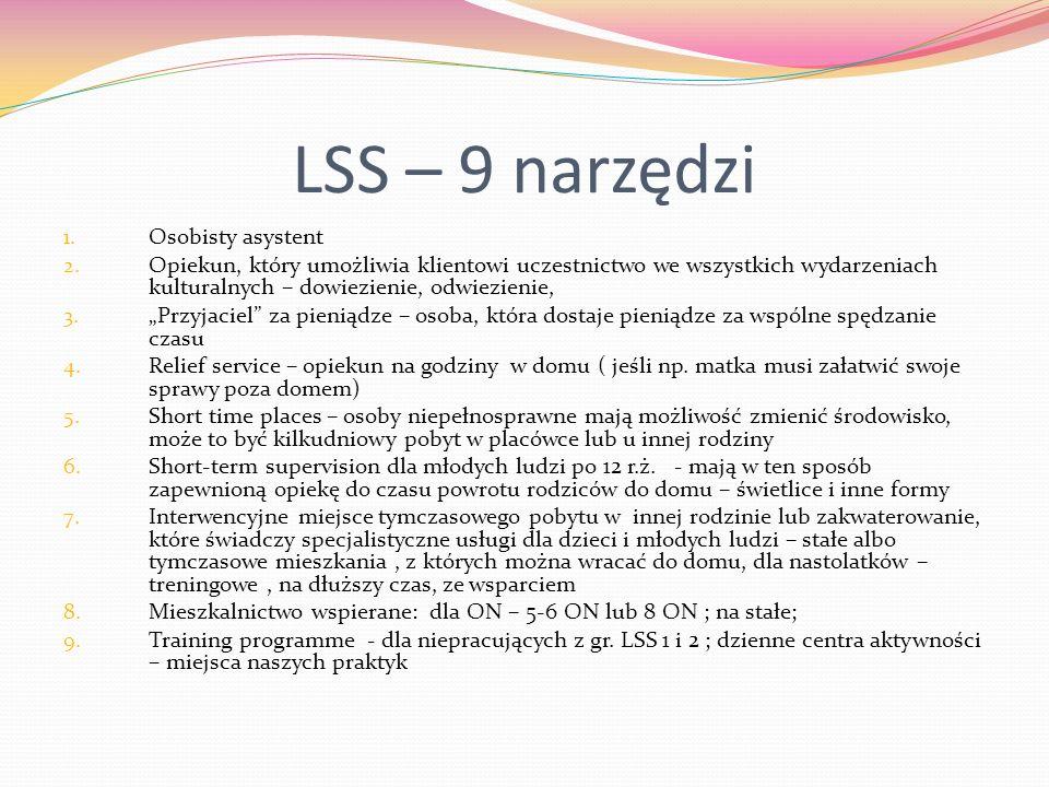 LSS – 9 narzędzi 1. Osobisty asystent 2. Opiekun, który umożliwia klientowi uczestnictwo we wszystkich wydarzeniach kulturalnych – dowiezienie, odwiez