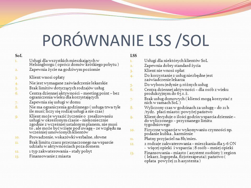 PORÓWNANIE LSS /SOL SoL 1. Usługi dla wszystkich mieszkających w Helsingborgu ( oprócz domów krótkiego pobytu ) 2. Zapewnia życie na godziwym poziomie