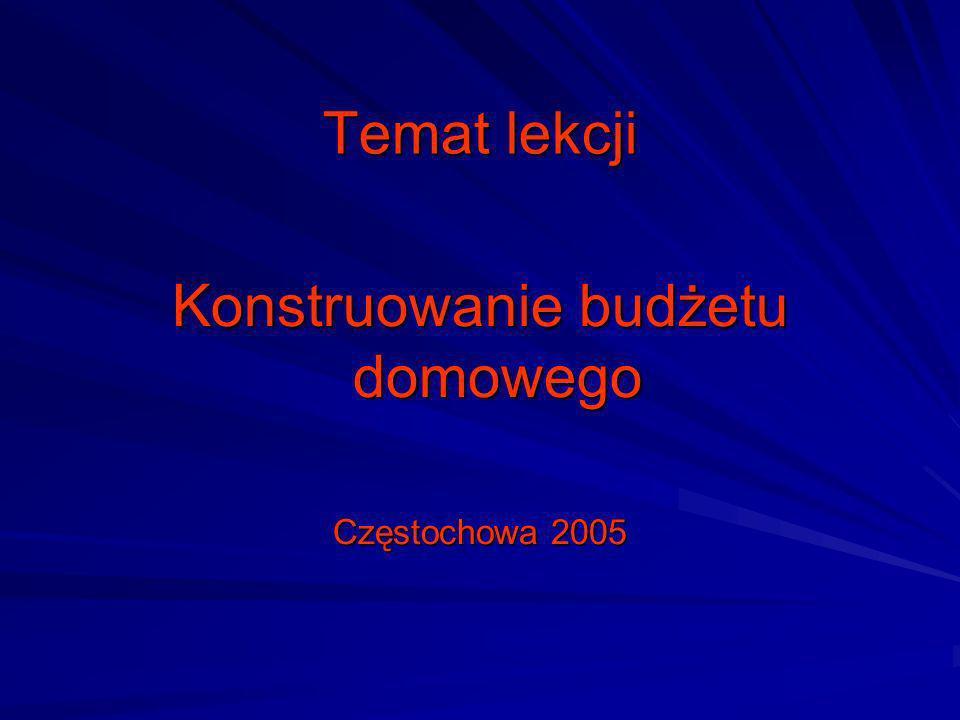 Temat lekcji Konstruowanie budżetu domowego Częstochowa 2005