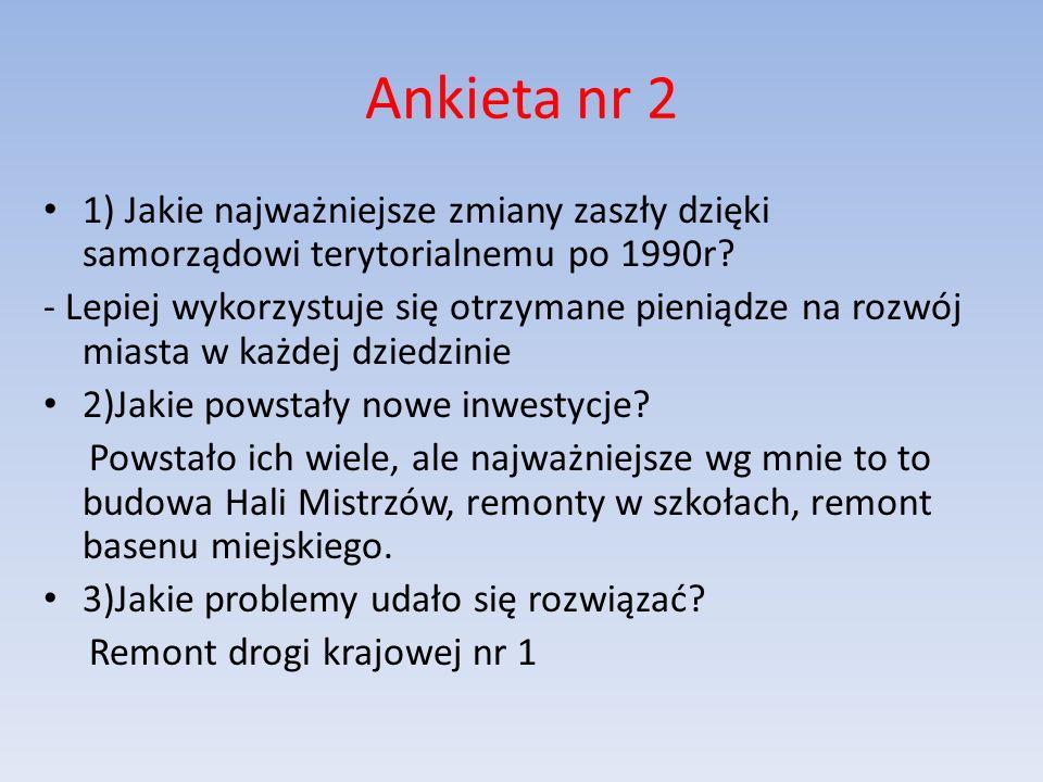 Ankieta nr 2 1) Jakie najważniejsze zmiany zaszły dzięki samorządowi terytorialnemu po 1990r.