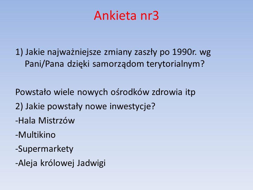 Ankieta nr3 1) Jakie najważniejsze zmiany zaszły po 1990r.