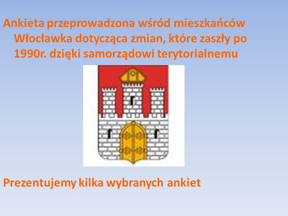 Ankieta przeprowadzona wśród mieszkańców Włocławka dotycząca zmian, które zaszły po 1990r.