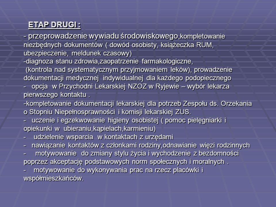ETAP DRUGI : - przeprowadzenie wywiadu środowiskowego, kompletowanie niezbędnych dokumentów ( dowód osobisty, książeczka RUM, ubezpieczenie, meldunek