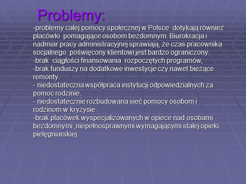 Problemy: -problemy całej pomocy społecznej w Polsce dotykają również placówki pomagające osobom bezdomnym. Biurokracja i nadmiar pracy administracyjn
