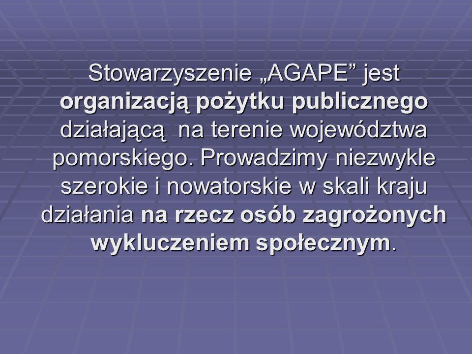 Stowarzyszenie AGAPE jest organizacją pożytku publicznego działającą na terenie województwa pomorskiego. Prowadzimy niezwykle szerokie i nowatorskie w