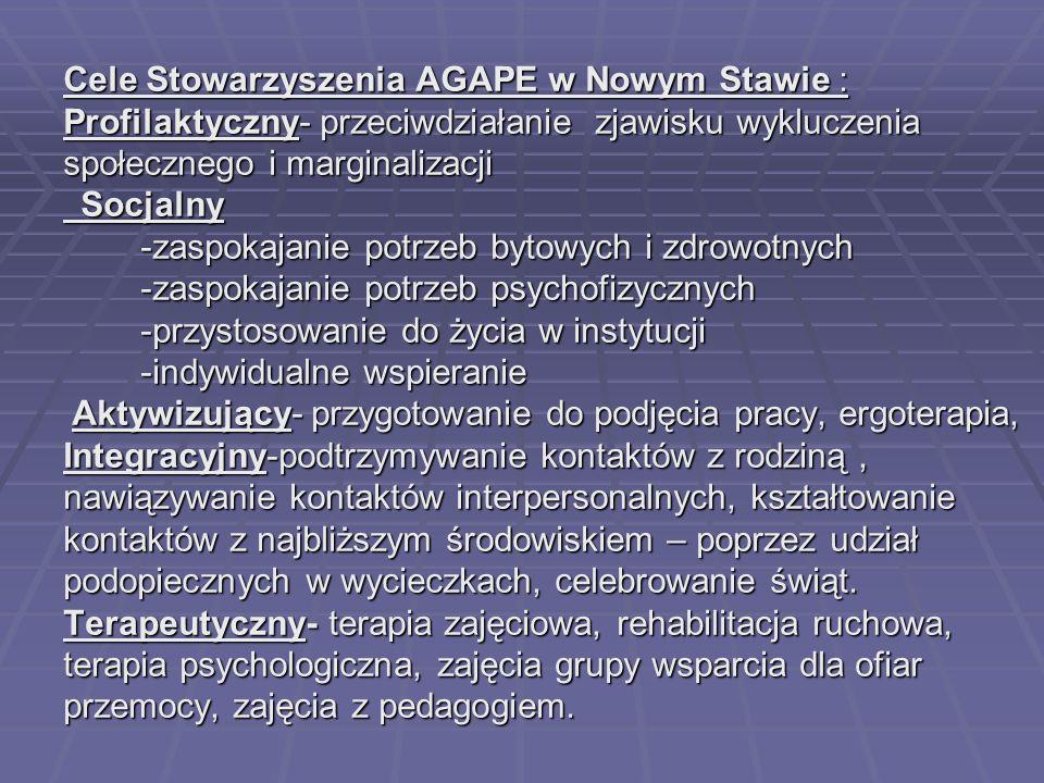 Cele Stowarzyszenia AGAPE w Nowym Stawie : Profilaktyczny- przeciwdziałanie zjawisku wykluczenia społecznego i marginalizacji Socjalny -zaspokajanie p