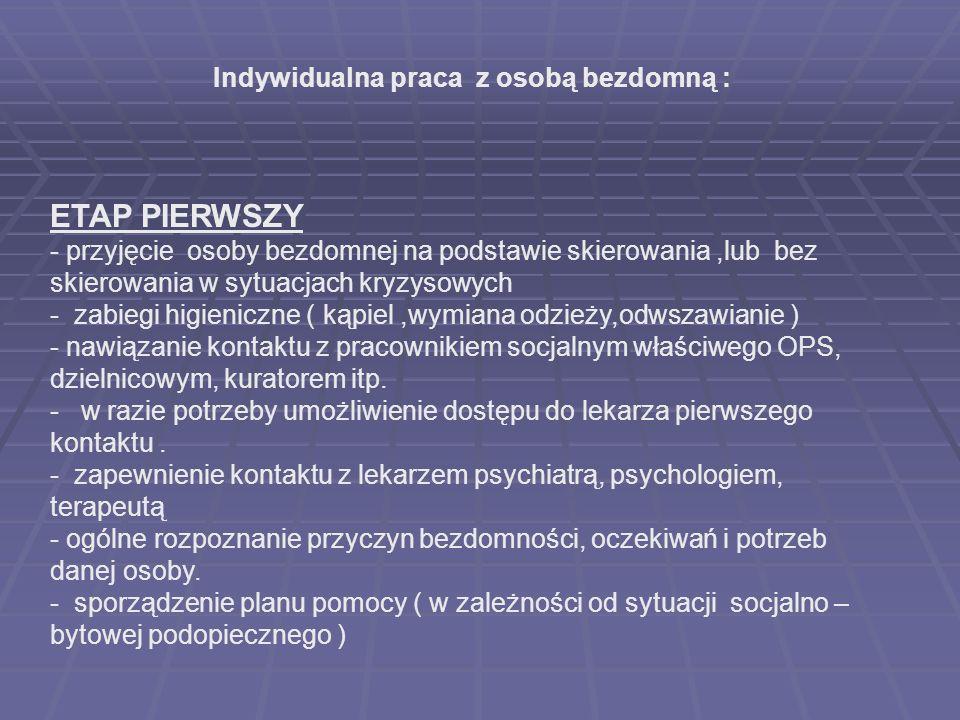 Indywidualna praca z osobą bezdomną : ETAP PIERWSZY - przyjęcie osoby bezdomnej na podstawie skierowania,lub bez skierowania w sytuacjach kryzysowych