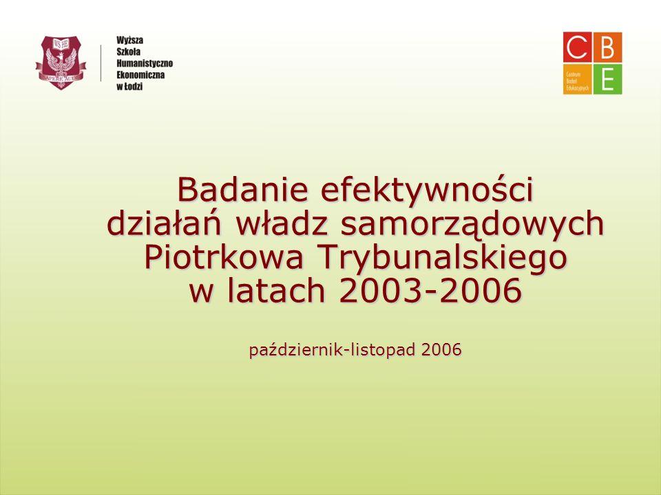 Centrum Badań Edukacyjnych Wyższa Szkoła Humanistyczno- Ekonomiczna w Łodzi Badanie efektywności działań władz samorządowych Piotrkowa Trybunalskiego
