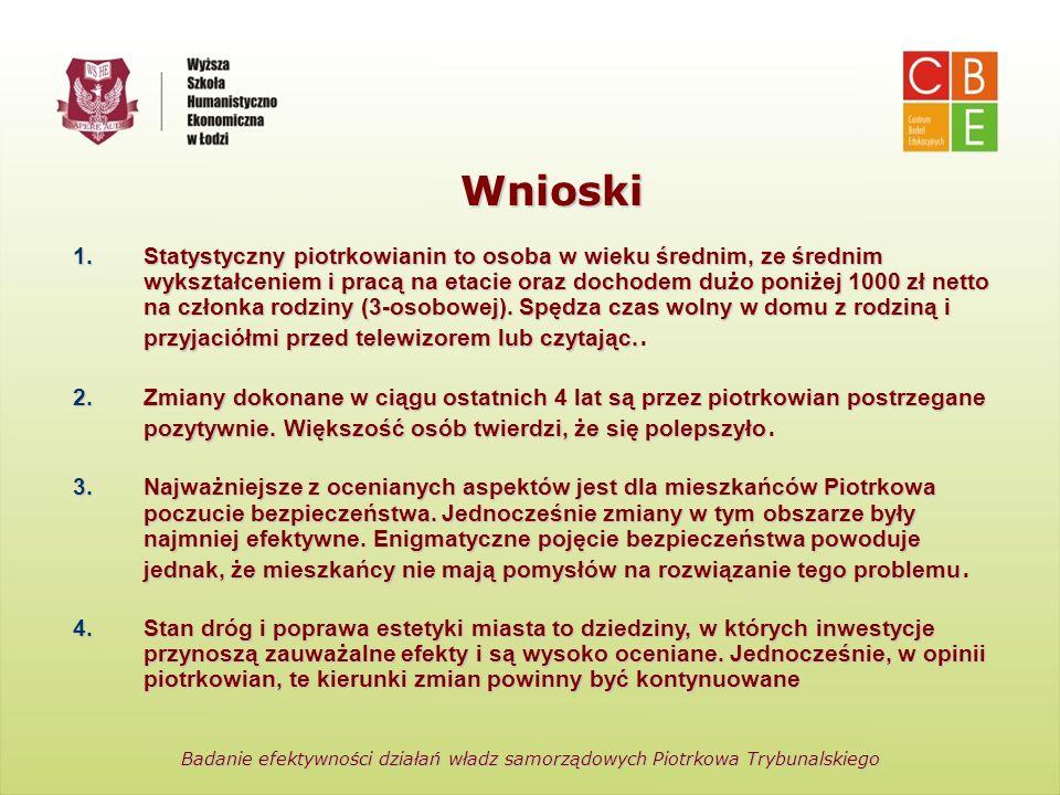 Centrum Badań Edukacyjnych Wyższa Szkoła Humanistyczno-Ekonomiczna w Łodzi Wnioski Badanie efektywności działań władz samorządowych Piotrkowa Trybunal