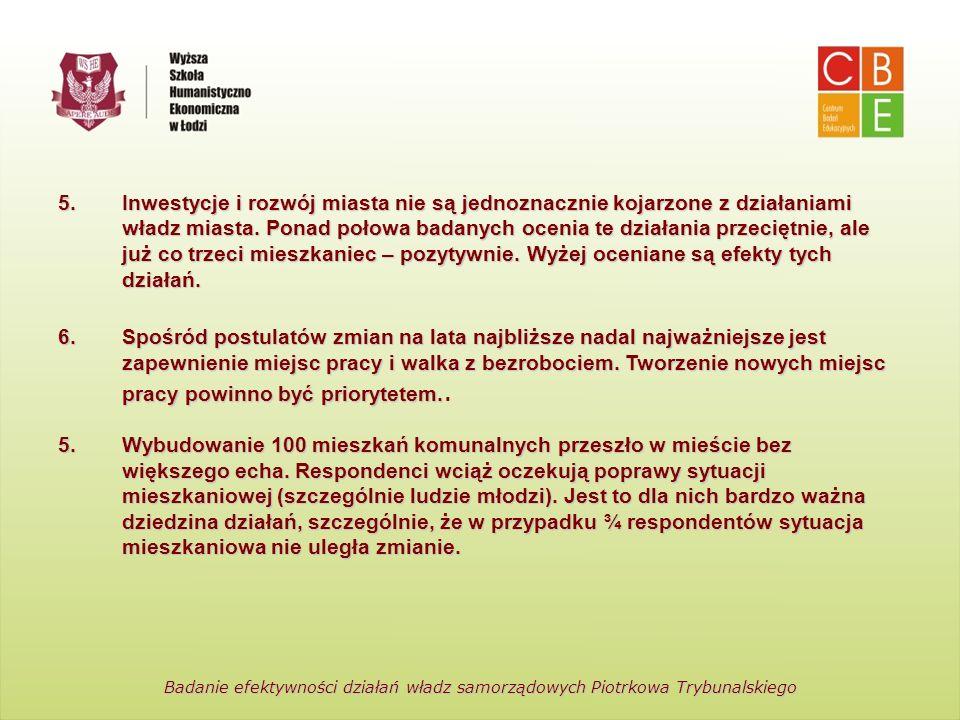 Centrum Badań Edukacyjnych Wyższa Szkoła Humanistyczno-Ekonomiczna w Łodzi Badanie efektywności działań władz samorządowych Piotrkowa Trybunalskiego 5