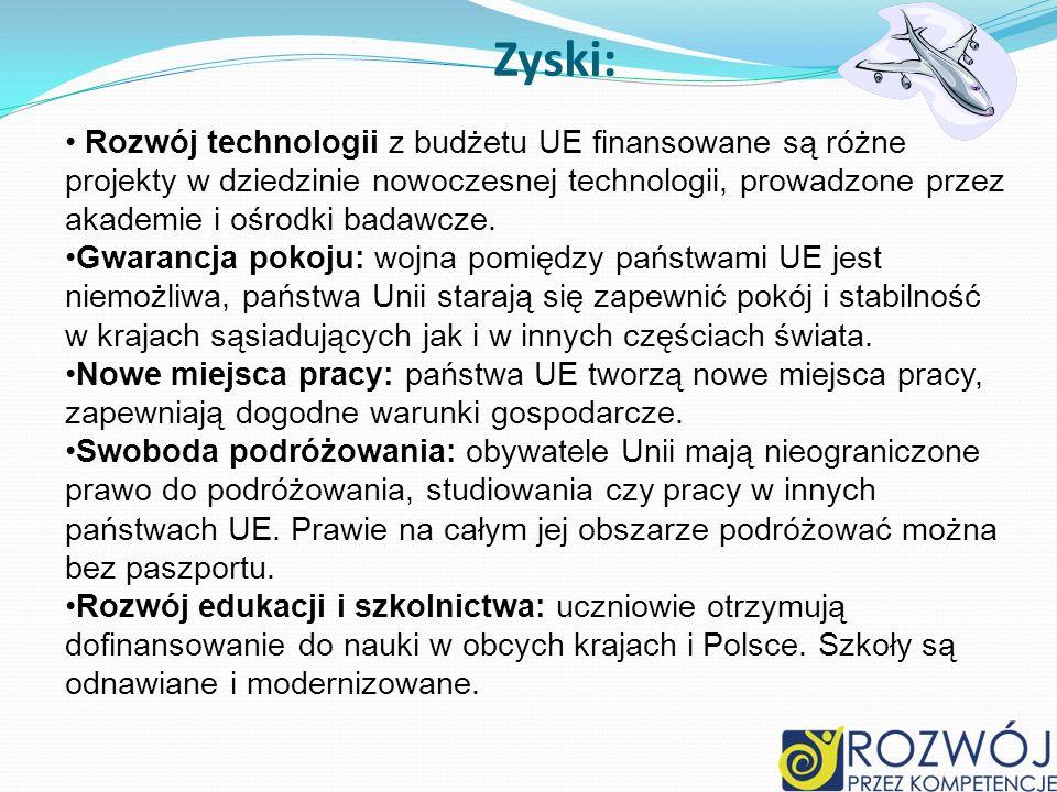 Zyski: Rozwój technologii z budżetu UE finansowane są różne projekty w dziedzinie nowoczesnej technologii, prowadzone przez akademie i ośrodki badawcz