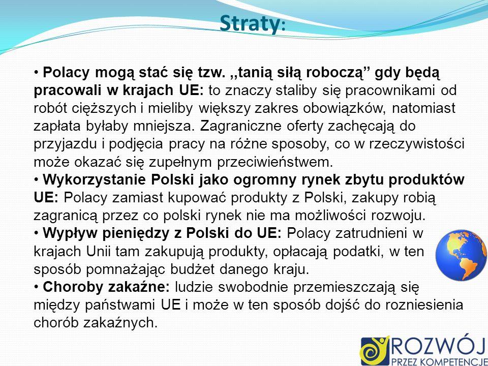 Straty : Polacy mogą stać się tzw.,,tanią siłą roboczą gdy będą pracowali w krajach UE: to znaczy staliby się pracownikami od robót cięższych i mielib