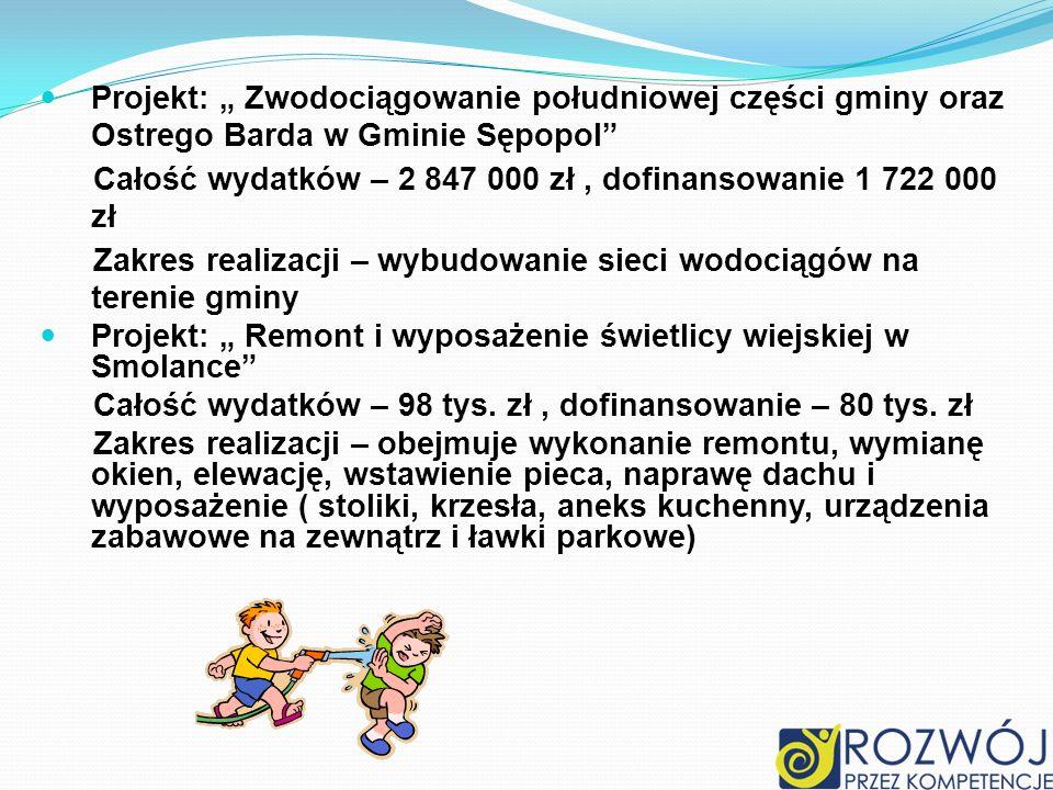 Projekt: Zwodociągowanie południowej części gminy oraz Ostrego Barda w Gminie Sępopol Całość wydatków – 2 847 000 zł, dofinansowanie 1 722 000 zł Zakr