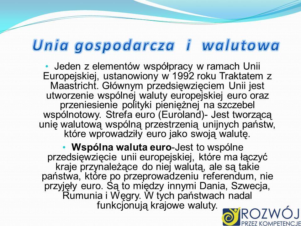Jeden z elementów współpracy w ramach Unii Europejskiej, ustanowiony w 1992 roku Traktatem z Maastricht. Głównym przedsięwzięciem Unii jest utworzenie