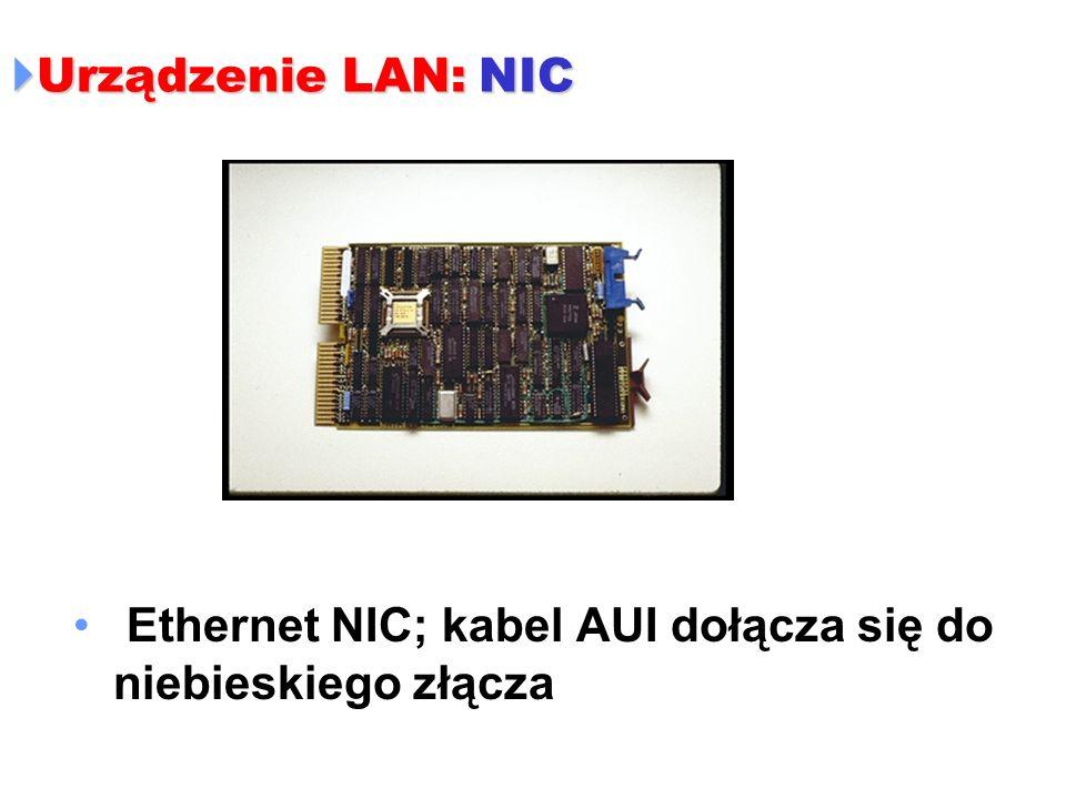 Urządzenie LAN: NIC Urządzenie LAN: NIC Ethernet NIC; kabel AUI dołącza się do niebieskiego złącza