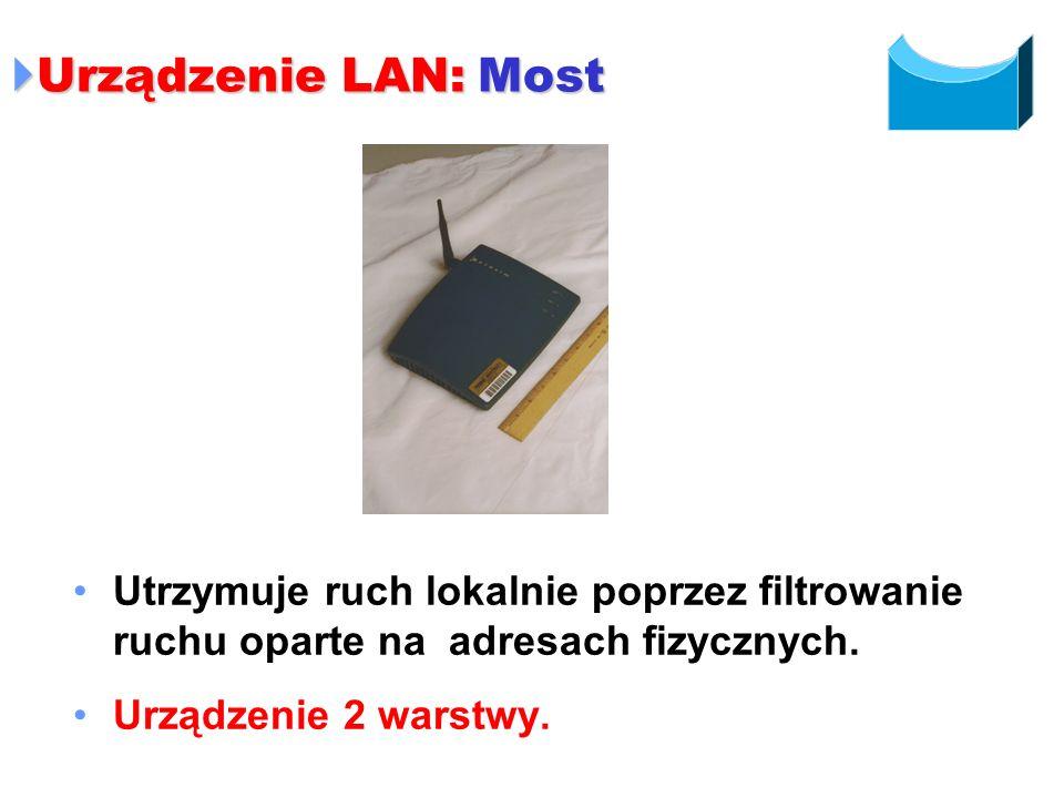 Urządzenie LAN: Most Urządzenie LAN: Most Utrzymuje ruch lokalnie poprzez filtrowanie ruchu oparte na adresach fizycznych. Urządzenie 2 warstwy.