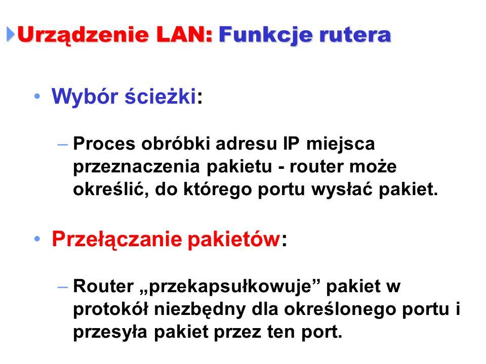 Urządzenie LAN: Funkcje rutera Urządzenie LAN: Funkcje rutera Wybór ścieżki: –Proces obróbki adresu IP miejsca przeznaczenia pakietu - router może okr