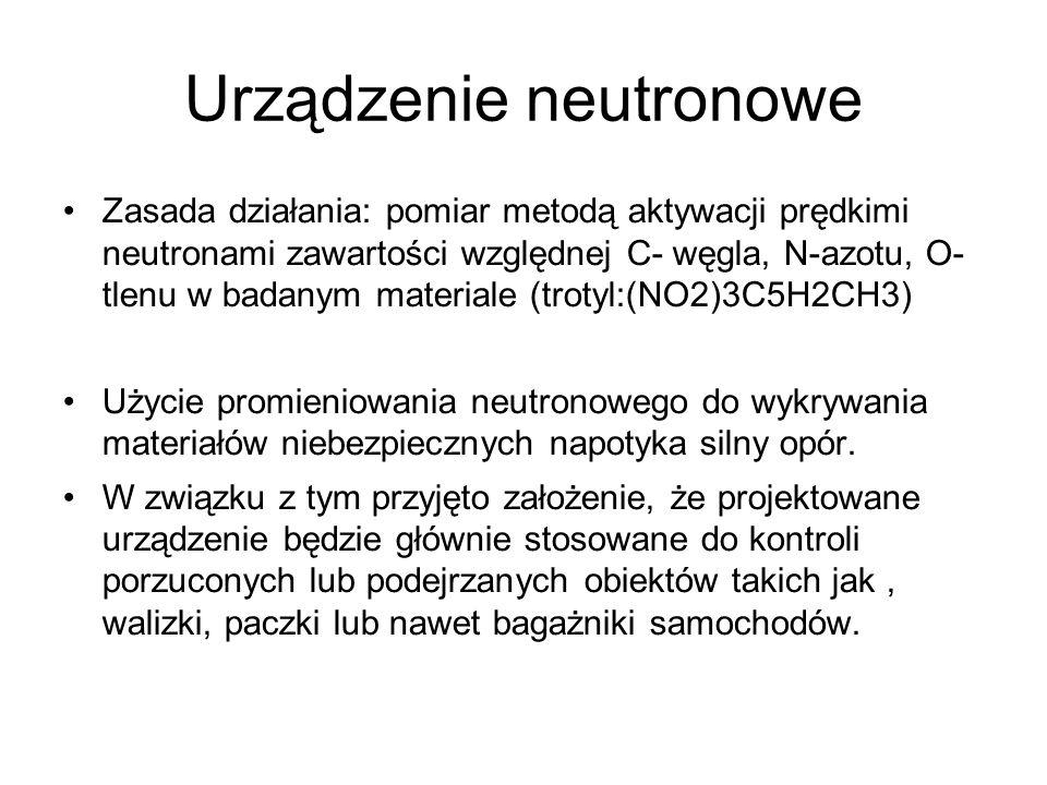 Urządzenie neutronowe Zasada działania: pomiar metodą aktywacji prędkimi neutronami zawartości względnej C- węgla, N-azotu, O- tlenu w badanym materia