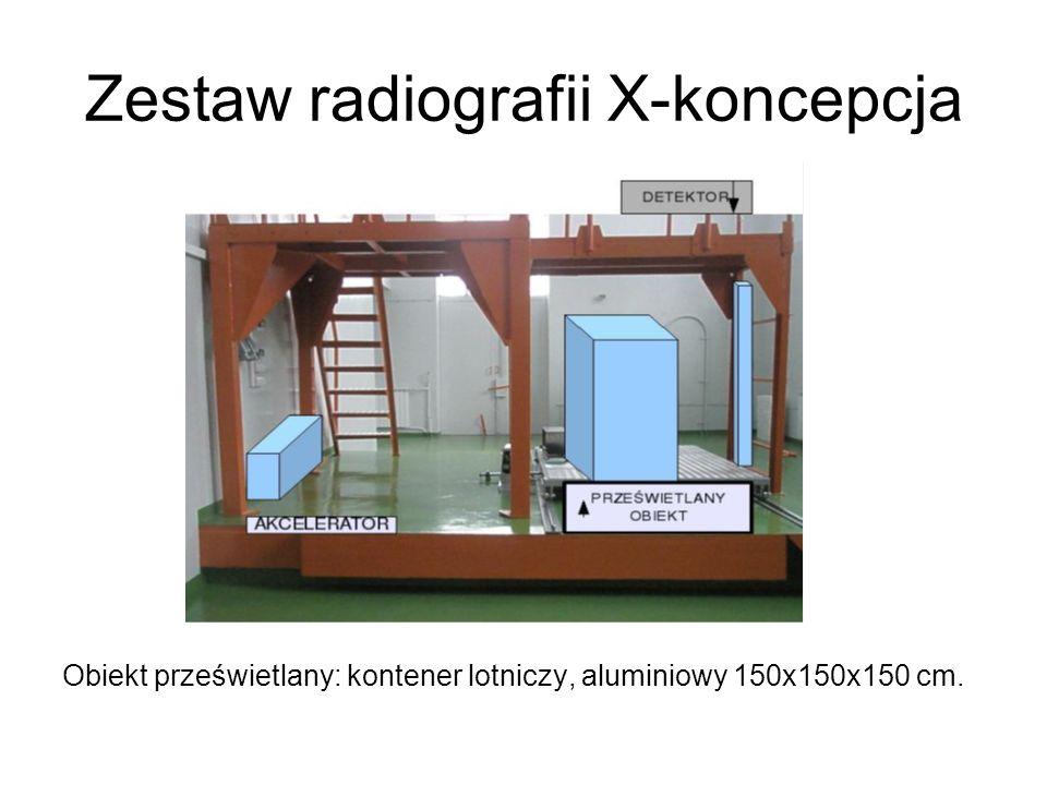 Zestaw radiografii X-koncepcja Obiekt prześwietlany: kontener lotniczy, aluminiowy 150x150x150 cm.