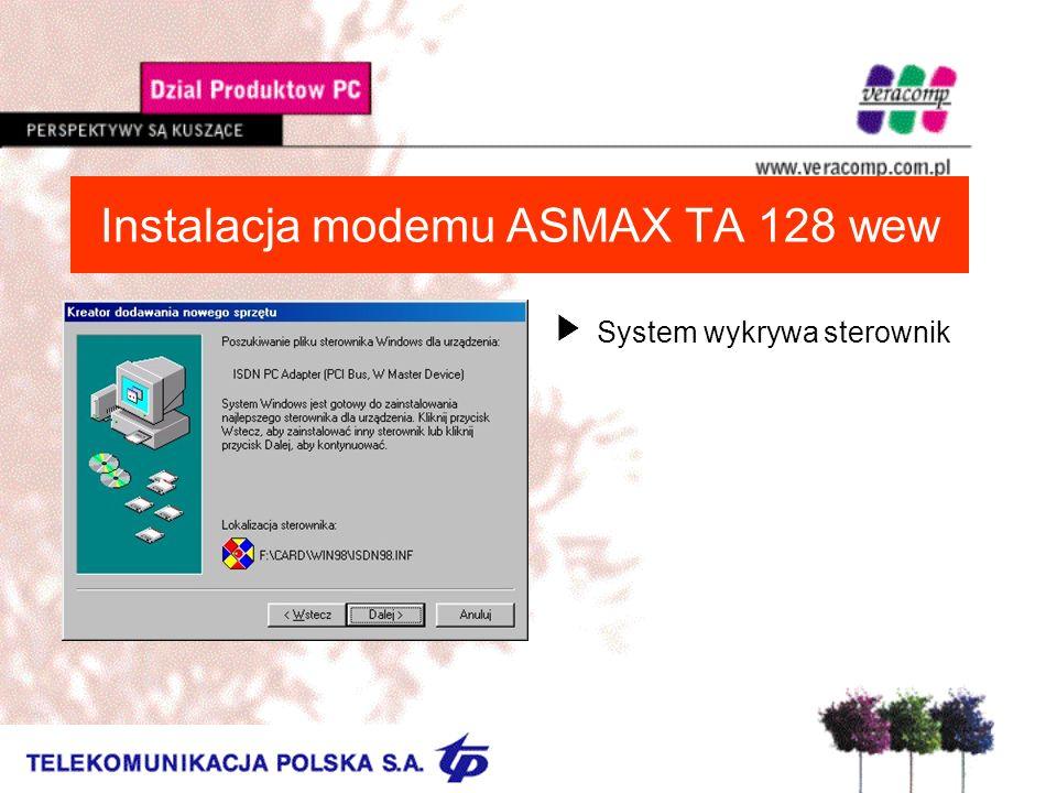 Instalacja modemu ASMAX TA 128 wew USystem wykrywa sterownik