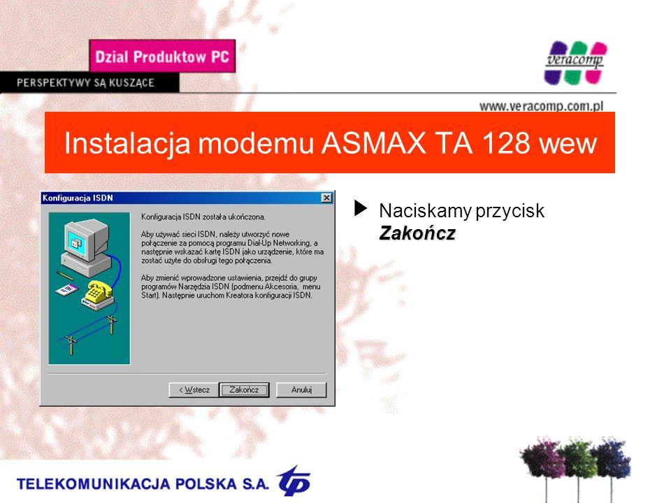 Instalacja modemu ASMAX TA 128 wew Zakończ UNaciskamy przycisk Zakończ