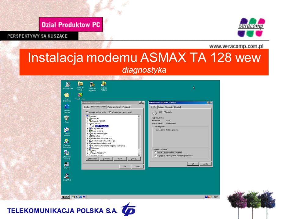 Instalacja modemu ASMAX TA 128 wew diagnostyka
