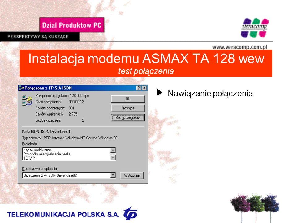 Instalacja modemu ASMAX TA 128 wew test połączenia UNawiązanie połączenia
