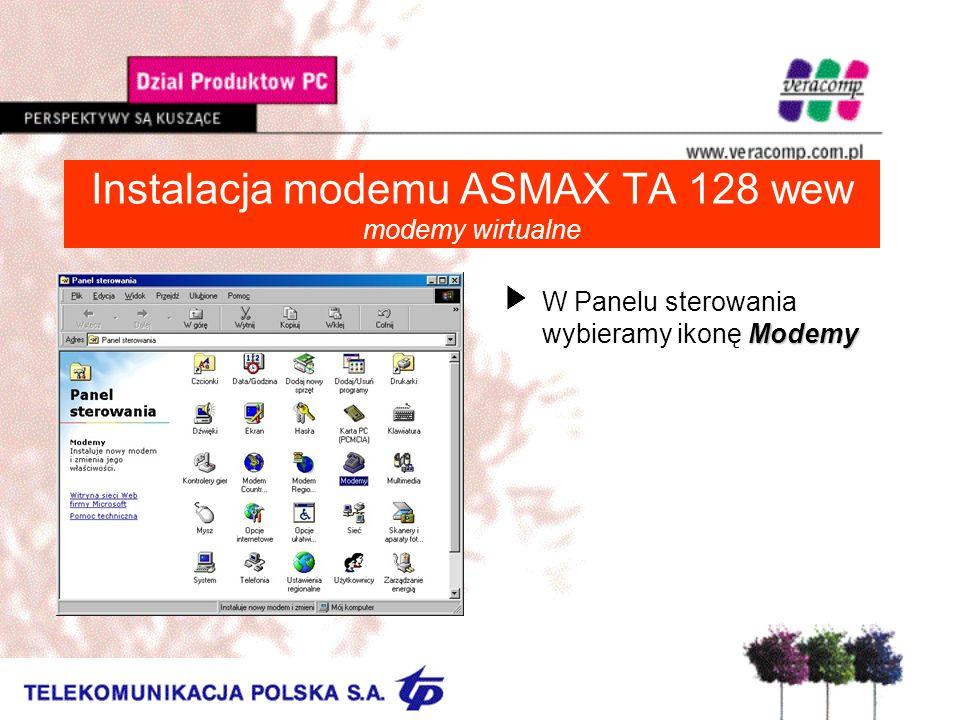 Instalacja modemu ASMAX TA 128 wew modemy wirtualne Modemy UW Panelu sterowania wybieramy ikonę Modemy