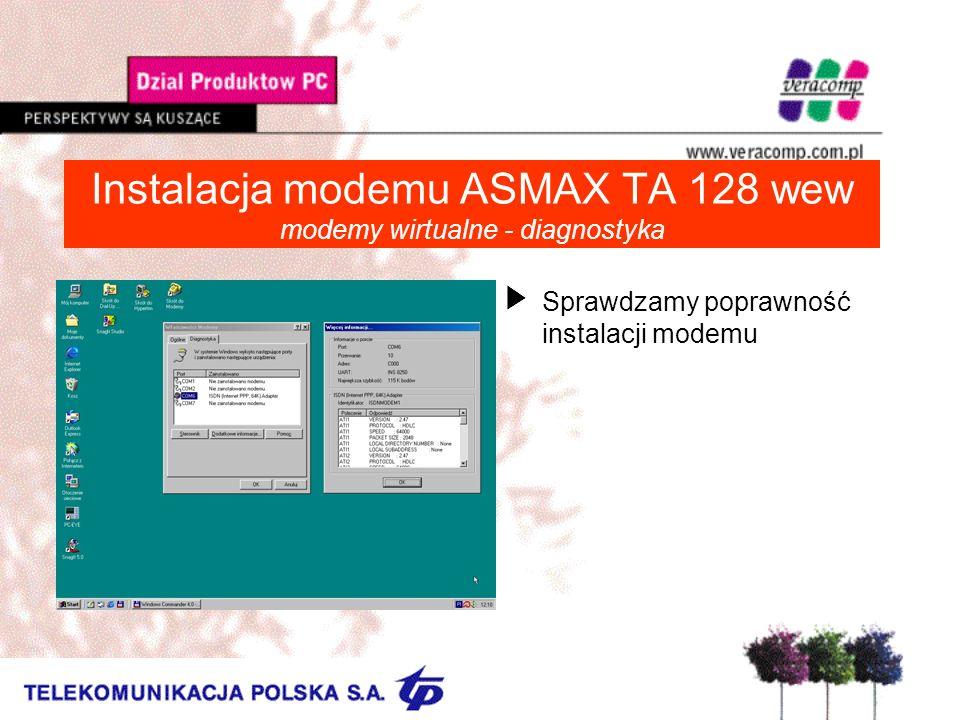 Instalacja modemu ASMAX TA 128 wew modemy wirtualne - diagnostyka USprawdzamy poprawność instalacji modemu