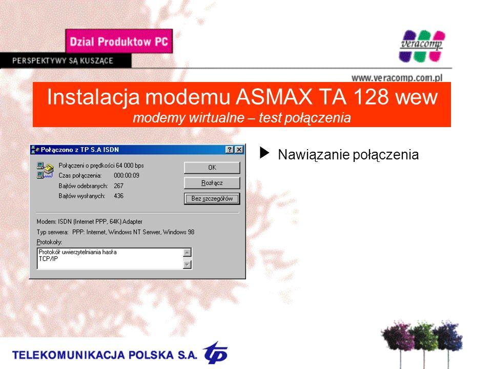 Instalacja modemu ASMAX TA 128 wew modemy wirtualne – test połączenia UNawiązanie połączenia