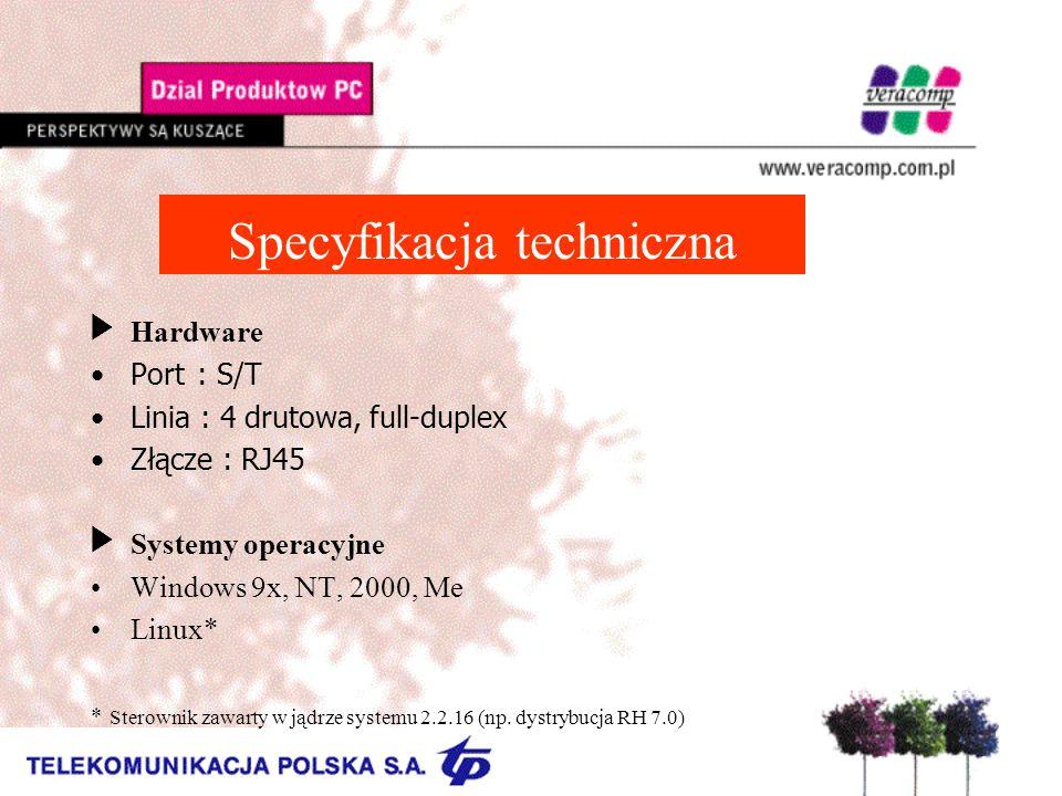 Specyfikacja techniczna UHardware Port : S/T Linia : 4 drutowa, full-duplex Złącze : RJ45 Systemy operacyjne Windows 9x, NT, 2000, Me Linux* * Sterownik zawarty w jądrze systemu 2.2.16 (np.