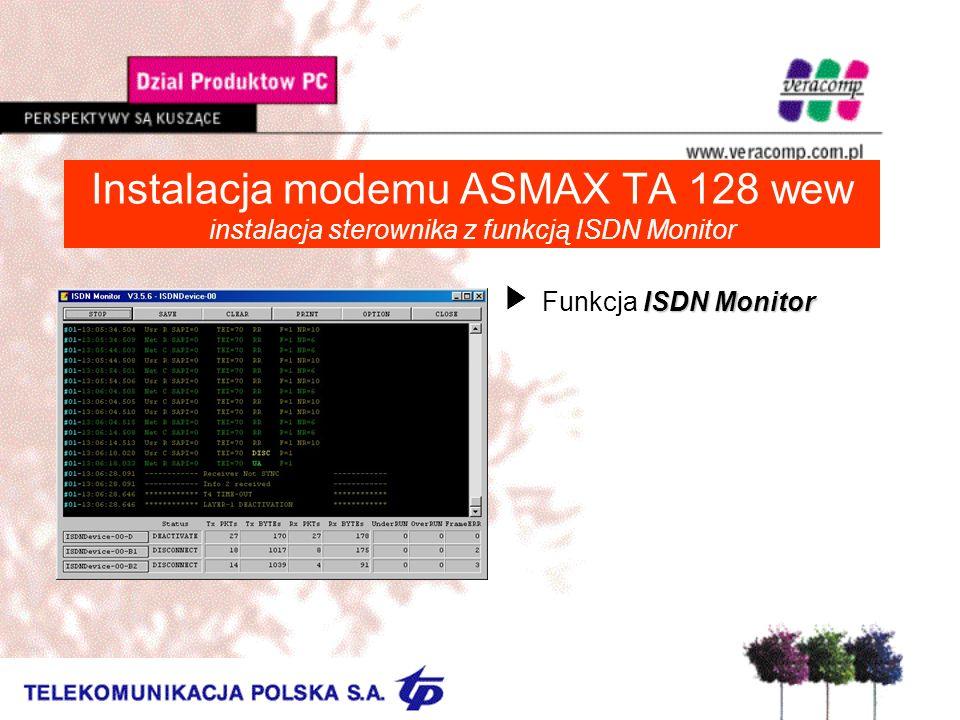 Instalacja modemu ASMAX TA 128 wew instalacja sterownika z funkcją ISDN Monitor ISDN Monitor UFunkcja ISDN Monitor