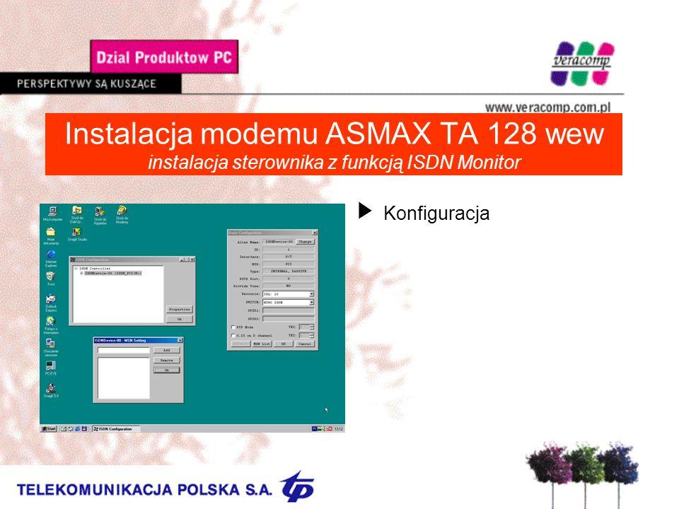 Instalacja modemu ASMAX TA 128 wew instalacja sterownika z funkcją ISDN Monitor UKonfiguracja