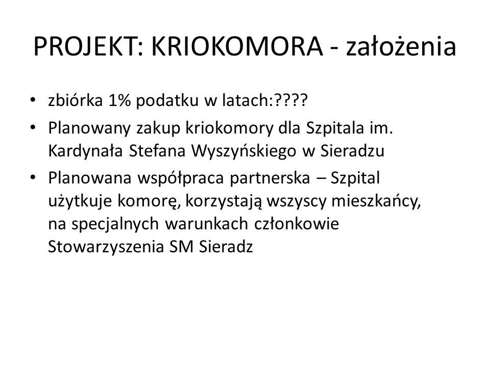 PROJEKT: KRIOKOMORA - założenia zbiórka 1% podatku w latach:???? Planowany zakup kriokomory dla Szpitala im. Kardynała Stefana Wyszyńskiego w Sieradzu