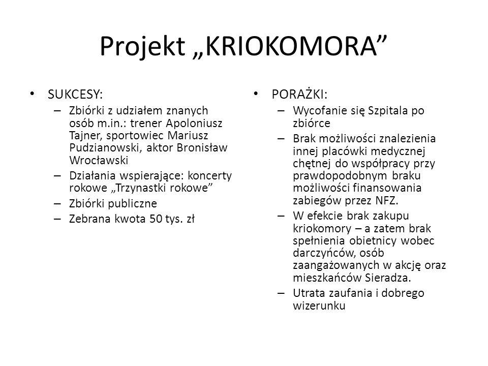 Projekt KRIOKOMORA SUKCESY: – Zbiórki z udziałem znanych osób m.in.: trener Apoloniusz Tajner, sportowiec Mariusz Pudzianowski, aktor Bronisław Wrocła