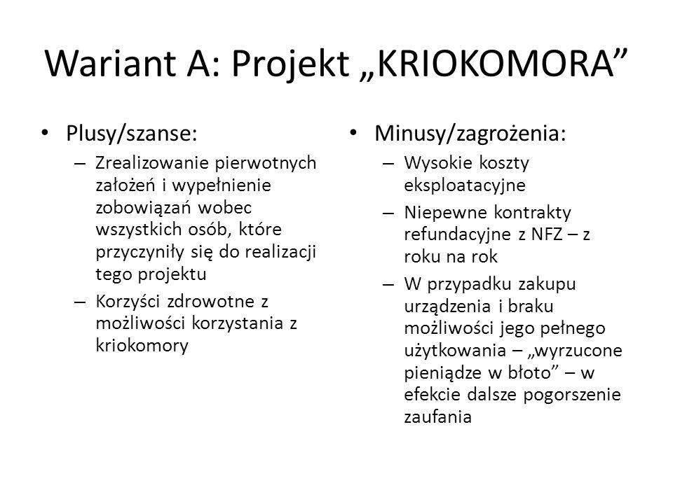 Wariant A: Projekt KRIOKOMORA Plusy/szanse: – Zrealizowanie pierwotnych założeń i wypełnienie zobowiązań wobec wszystkich osób, które przyczyniły się