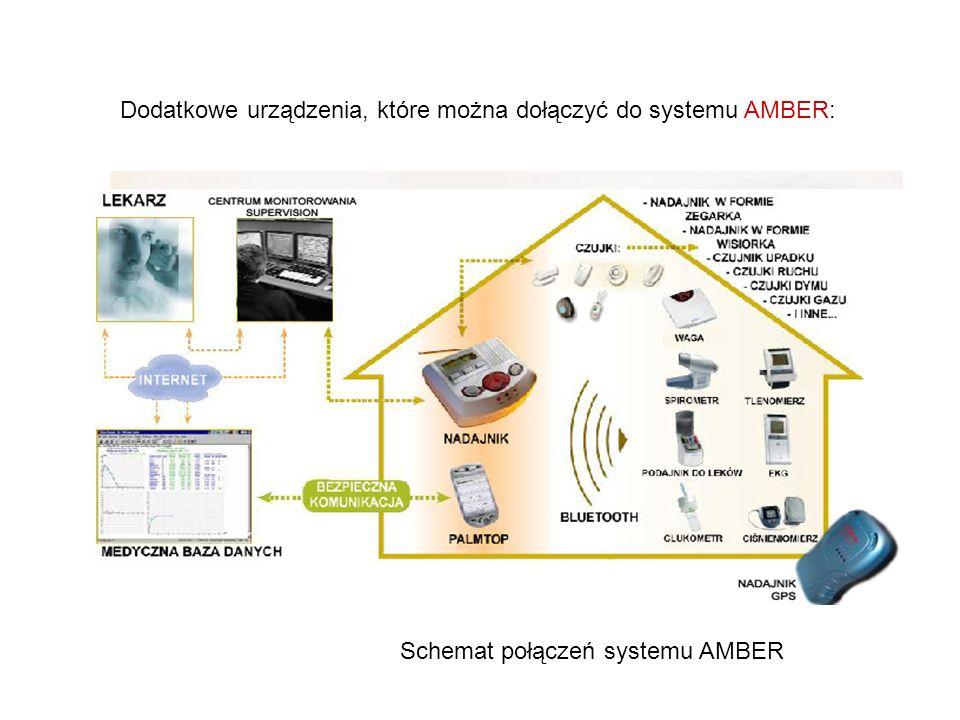 Dodatkowe urządzenia, które można dołączyć do systemu AMBER: Schemat połączeń systemu AMBER