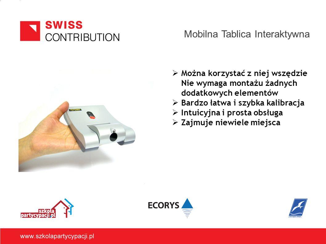 Mobilna Tablica Interaktywna Można korzystać z niej wszędzie Nie wymaga montażu żadnych dodatkowych elementów Bardzo łatwa i szybka kalibracja Intuicyjna i prosta obsługa Zajmuje niewiele miejsca