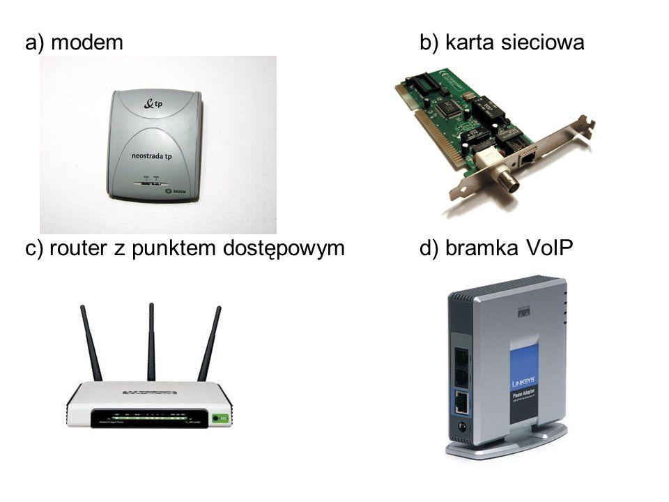 a) modemb) karta sieciowa c) router z punktem dostępowym d) bramka VoIP