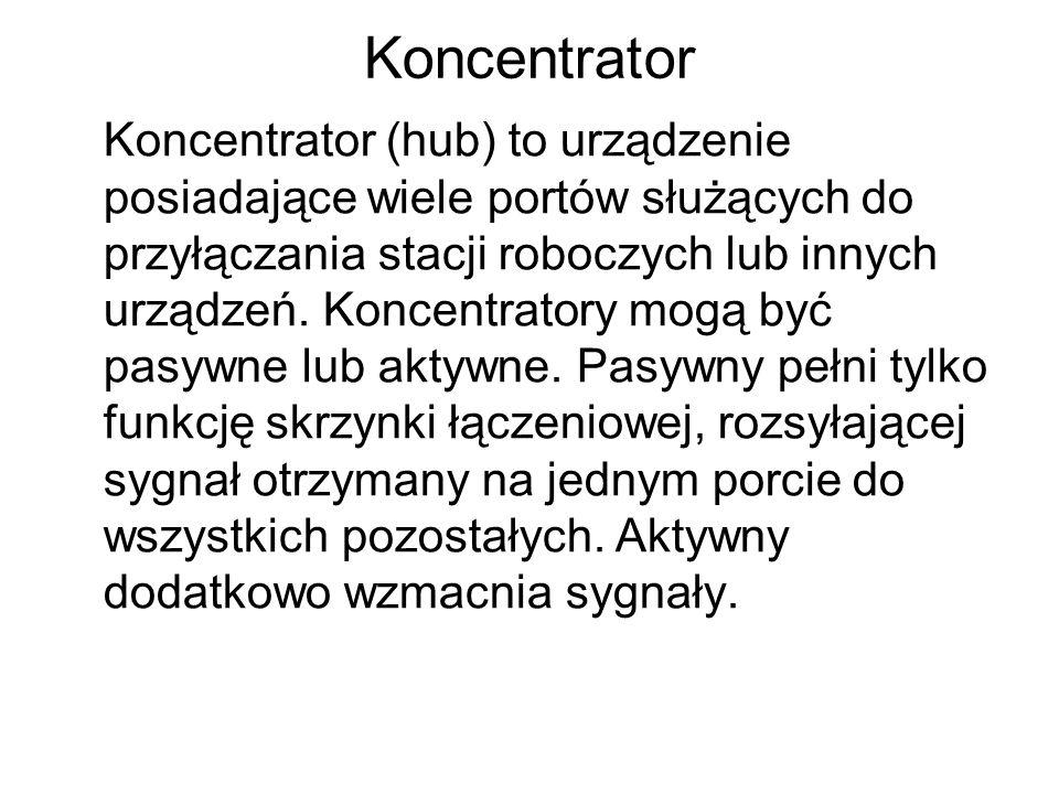 Koncentrator Koncentrator (hub) to urządzenie posiadające wiele portów służących do przyłączania stacji roboczych lub innych urządzeń.