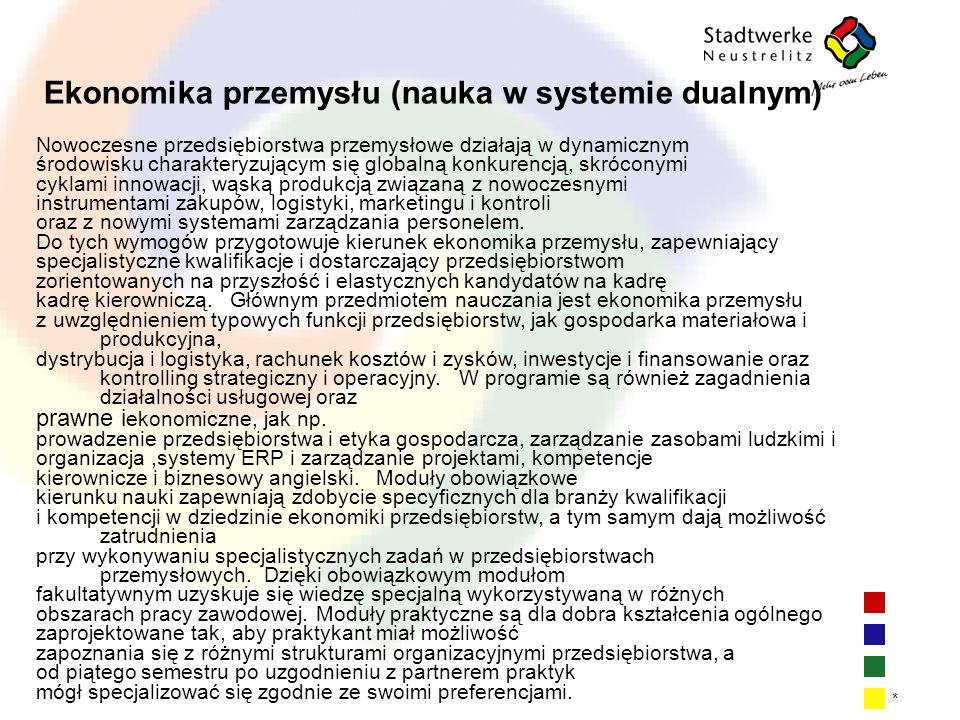 | 17 * Ekonomika przemysłu (nauka w systemie dualnym) Nowoczesne przedsiębiorstwa przemysłowe działają w dynamicznym środowisku charakteryzującym się
