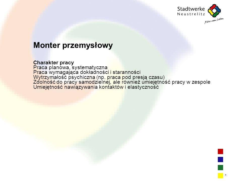 | 4| 4| 4| 4 * Monter przemysłowy Charakter pracy Praca planowa, systematyczna Praca wymagająca dokładności i staranności Wytrzymałość psychiczna (np.