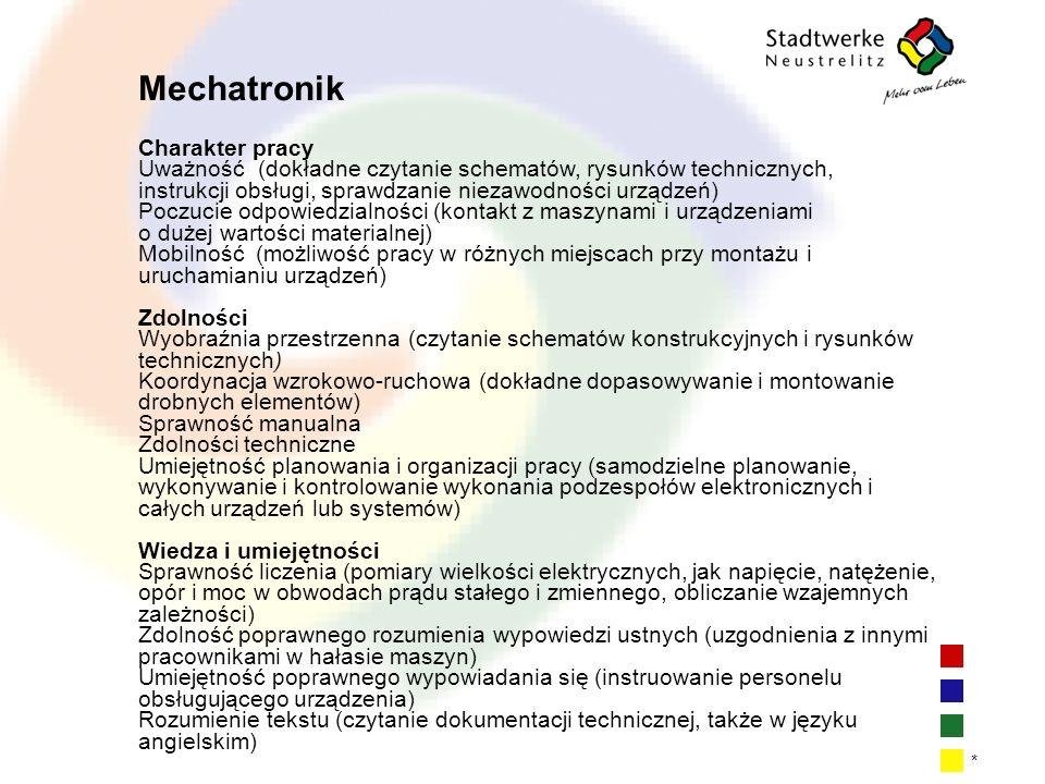 | 6| 6| 6| 6 * Mechatronik Charakter pracy Uważność (dokładne czytanie schematów, rysunków technicznych, instrukcji obsługi, sprawdzanie niezawodności