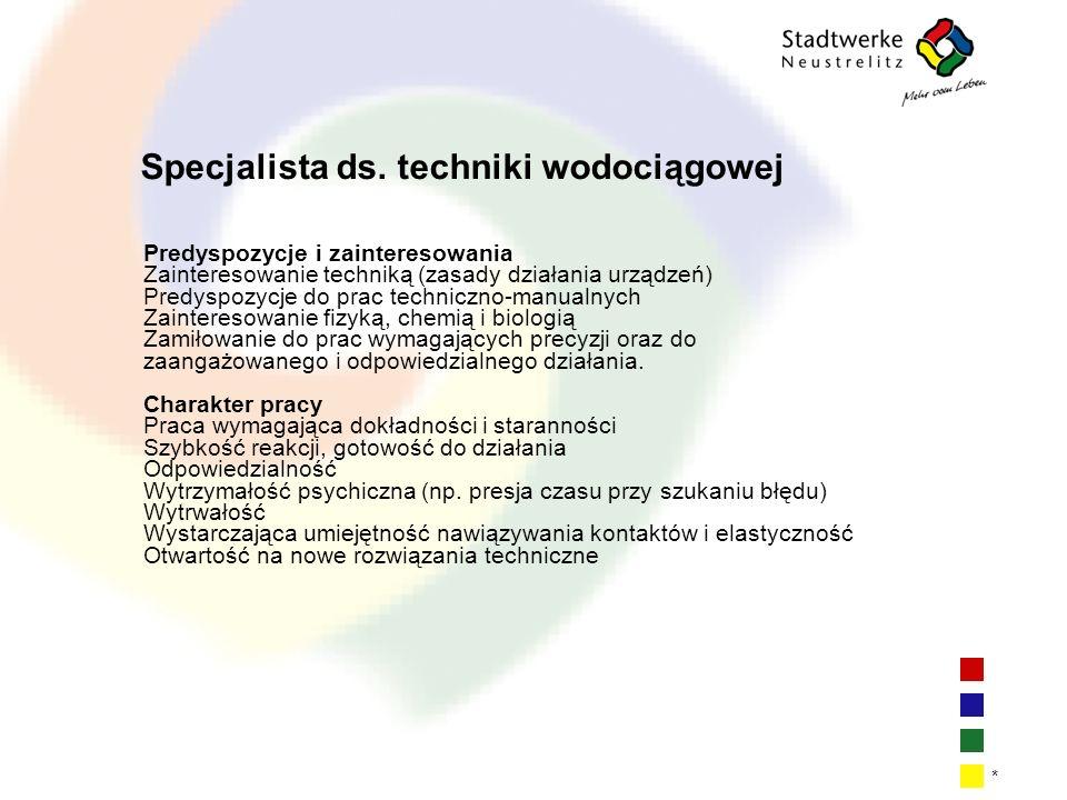 | 8| 8| 8| 8 * Specjalista ds. techniki wodociągowej Predyspozycje i zainteresowania Zainteresowanie techniką (zasady działania urządzeń) Predyspozycj