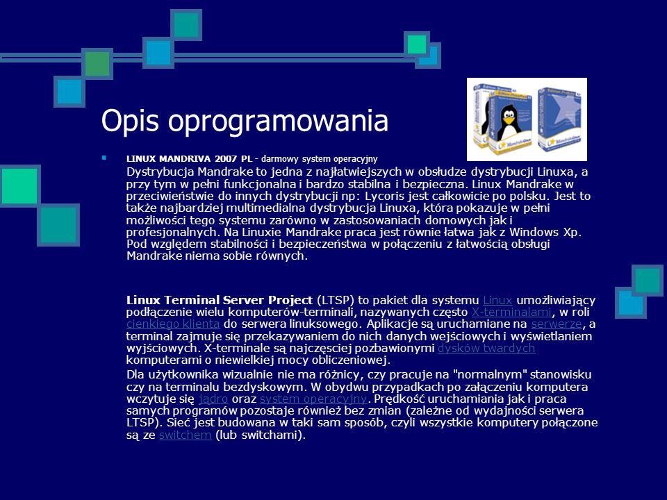 Opis oprogramowania LINUX MANDRIVA 2007 PL - darmowy system operacyjny Dystrybucja Mandrake to jedna z najłatwiejszych w obsłudze dystrybucji Linuxa,