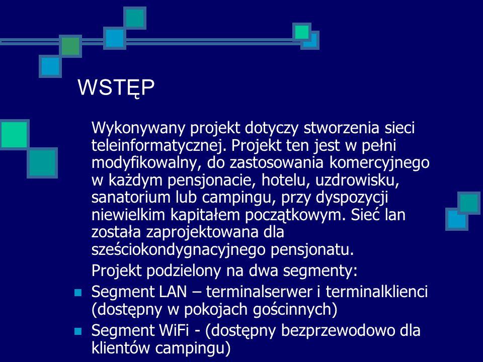 WSTĘP Wykonywany projekt dotyczy stworzenia sieci teleinformatycznej. Projekt ten jest w pełni modyfikowalny, do zastosowania komercyjnego w każdym pe